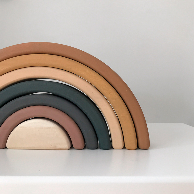 Wooden Rainbow toy / Mustard