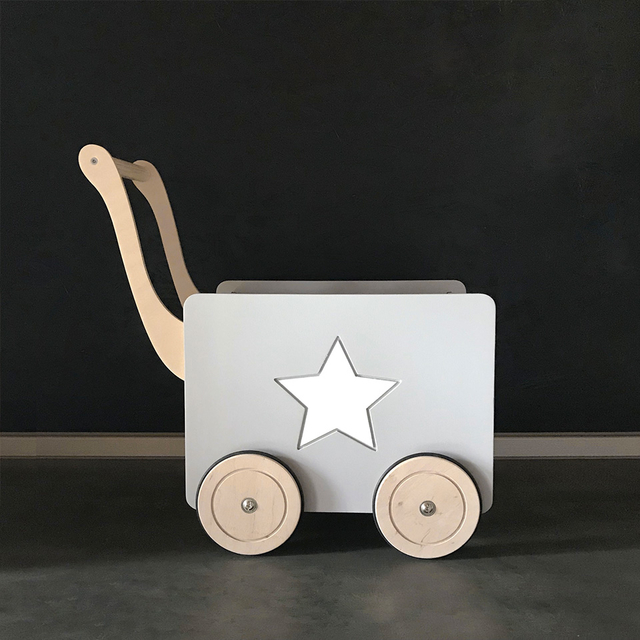 Toy chest on wheels with a star / Grey