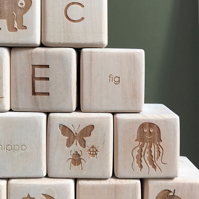 English Alphabet Blocks / Wooden
