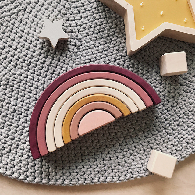 Wooden Rainbow toy / Marsala