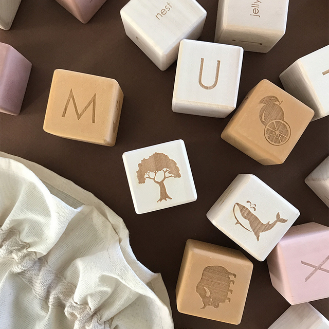 Alphabet Blocks Set / Mustard-Pink